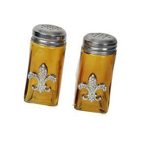 NWOT Glass Bronze Color Fleur de Lis S&P Shakers